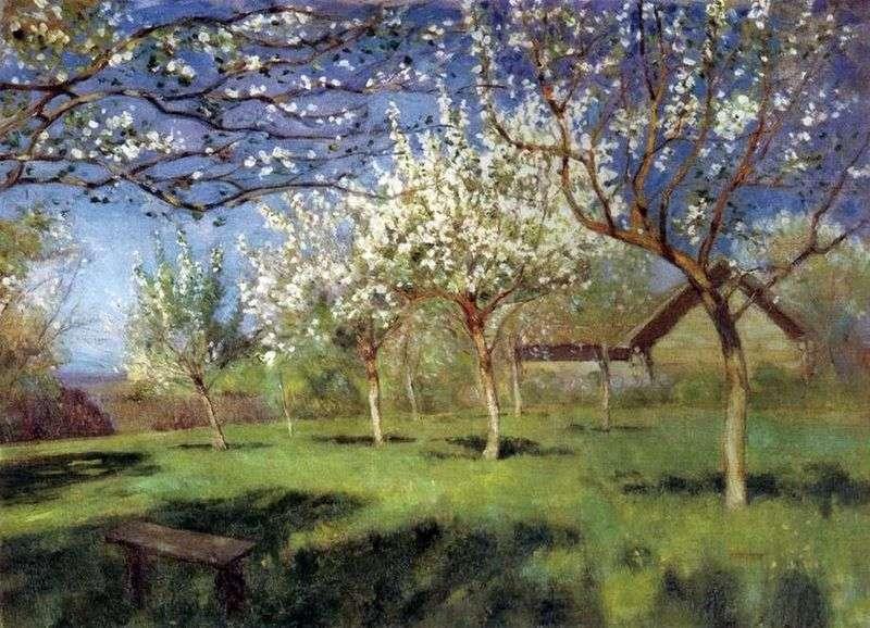 Описание картины Цветущие яблони – Исаак Левитан📕