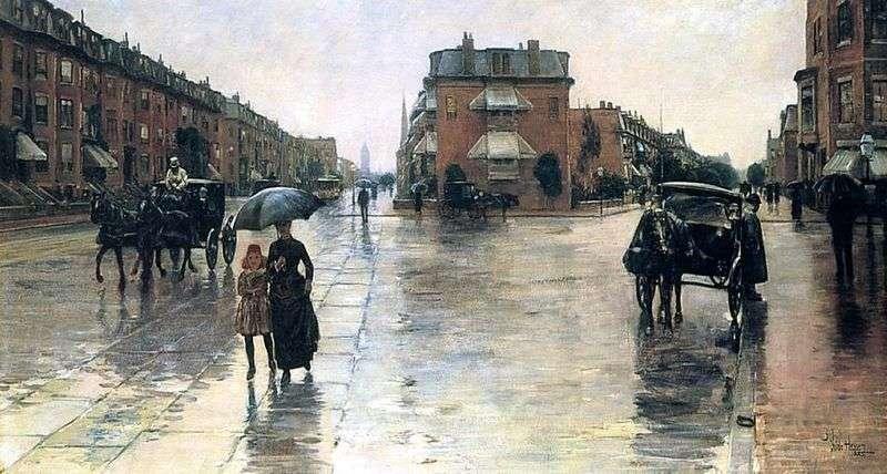 Описание картины Дождливый день в Бостоне – Чайлд Хассам📕  Дождливый Город Картина